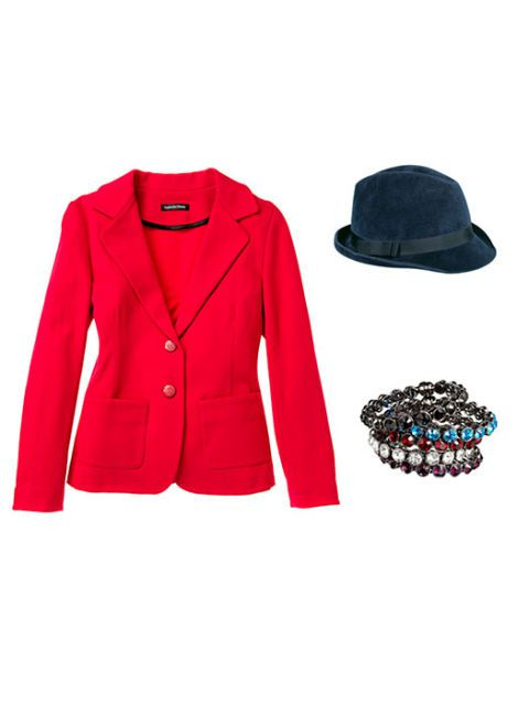 blazer ceket with hat and bangle bracelets
