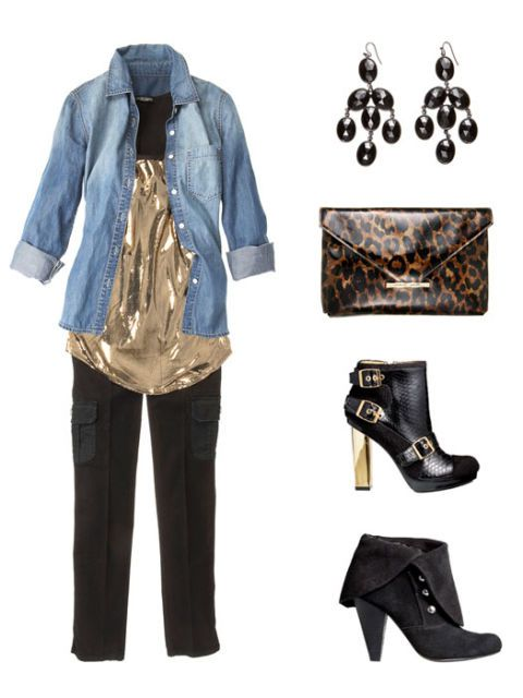 kot shirt outfit with earrings purse and shoes