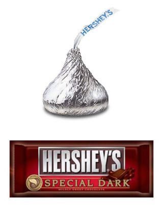 hershey's kisses, dark chocolate